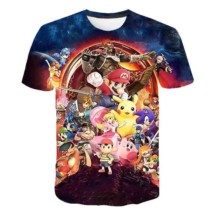Verão 2020 mario meninos roupas novo estilo harajuku clássico jogo mario bros 3d impresso camiseta crianças rua