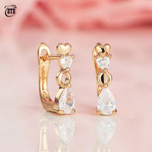 New Arrivals Clear White Water Drop Natural Zirconia Dangle Earrings Women Gifts 585 Gold Wedding Party Trendy Heart Jewelry(China)