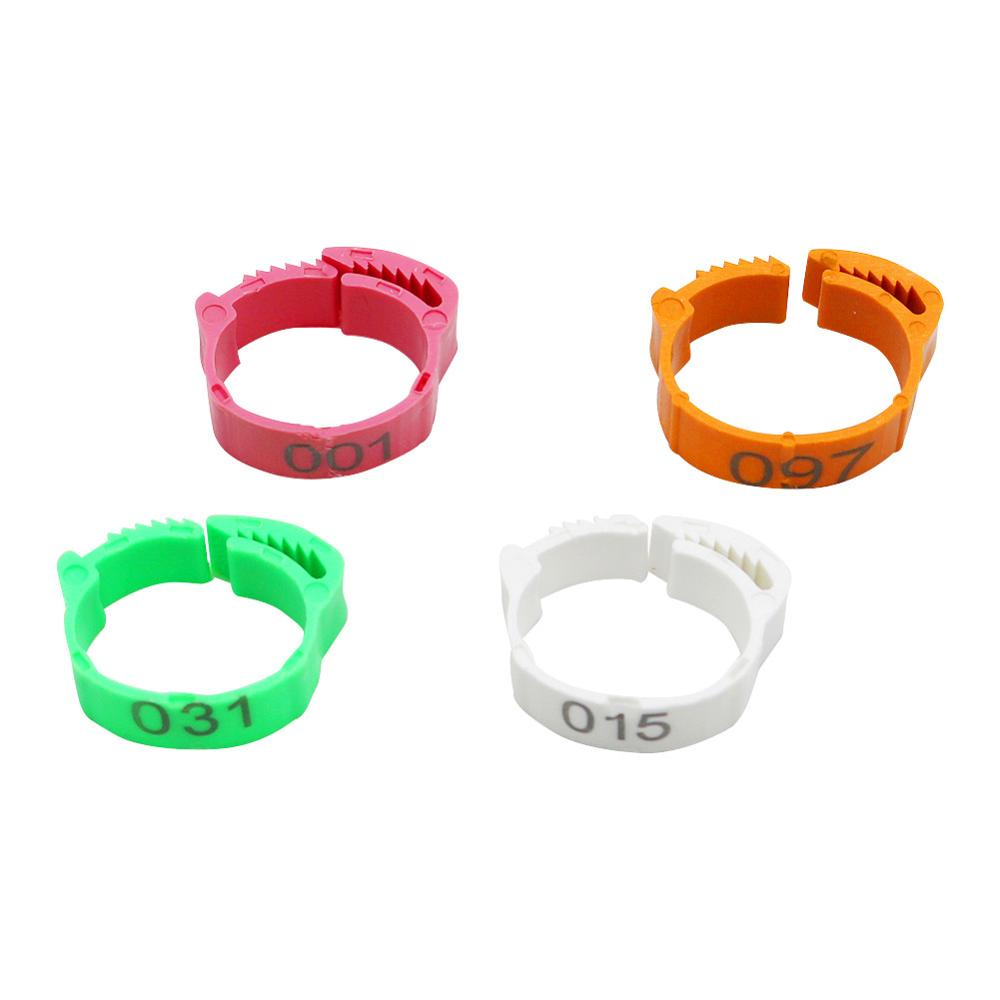 100Pcs/Color Adjustable Chicken Foot Rings Inner Diameter Size 2~2.4cm Chicken Poultry Flexible Retractable Foot Rings 4 Colors