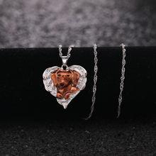 Популярные в форме сердца собака крыльями ожерелье для женщин