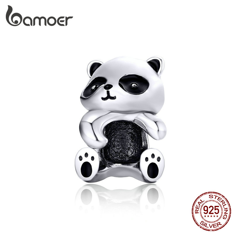 BAMOER Panda Hug Metal Beads For Women Jewelry Making 925 Sterling Silver Animal Charms Fit For 3mm Silver Bracelet SCC1175