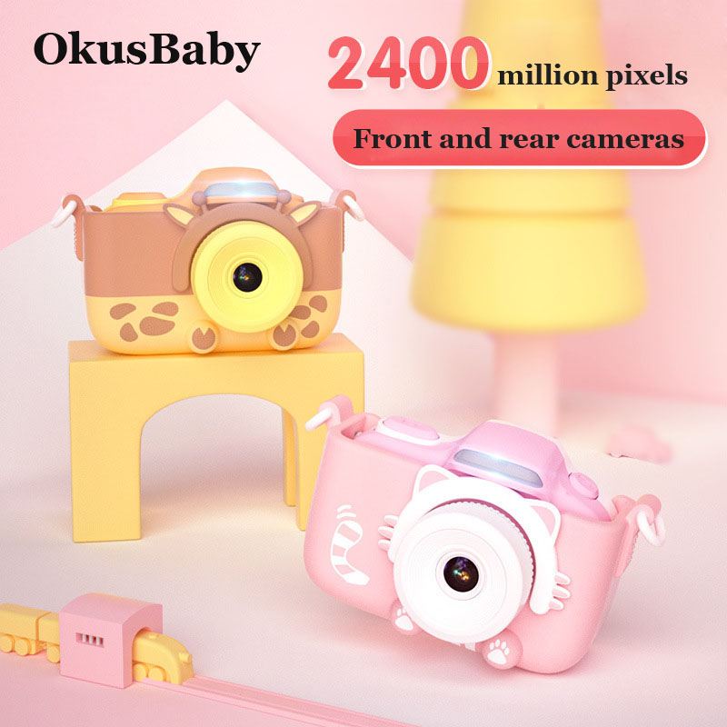 Candy Color 2400 MP 36G Memory Card Baby WIFI Digital Camera Toy With High Definition Two Cameras Video Function Animal Cover
