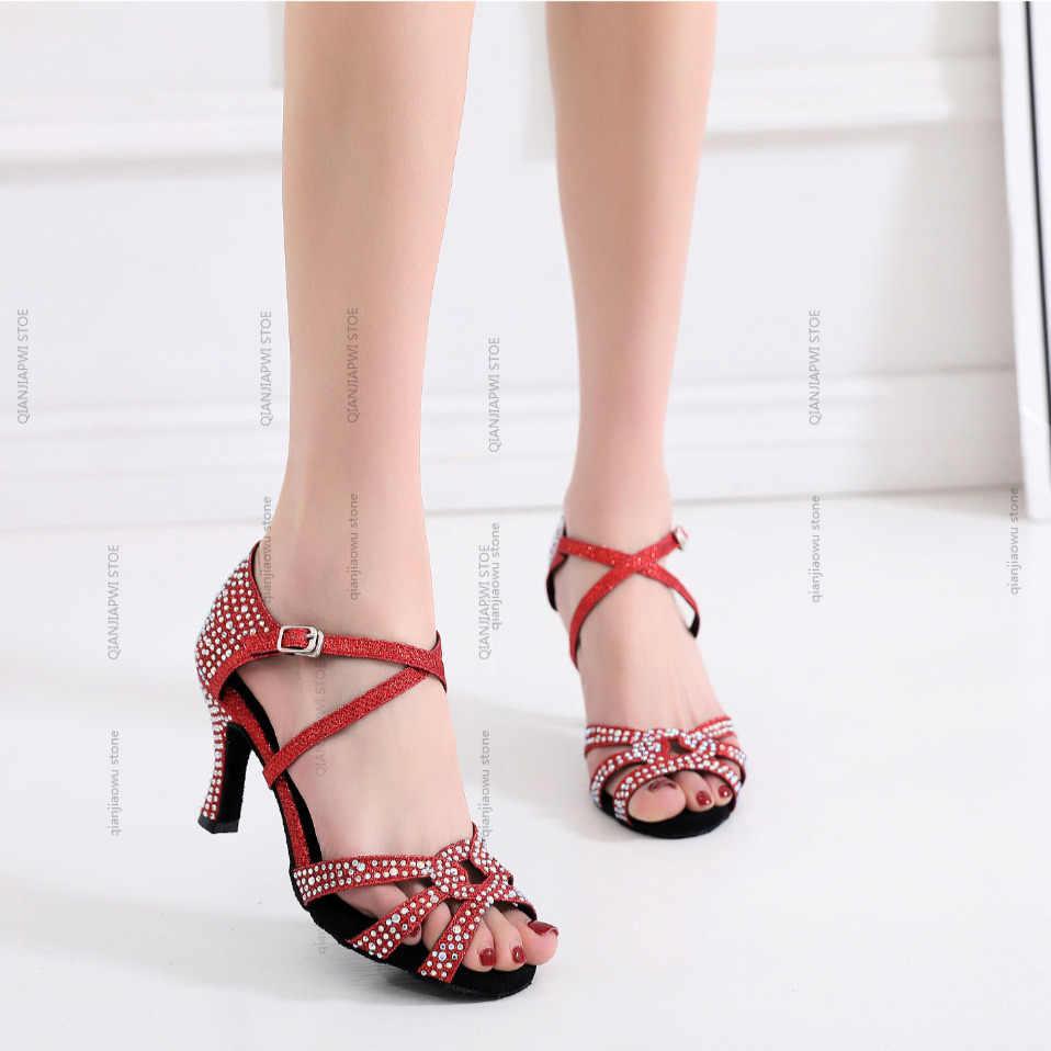 Nuevas sandalias de verano stye salsa jazz salón de baile latino zapatos de baile para mujeres práctica señoras tango vals latina tacón