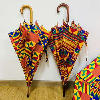 African umbrella Windproof UV Ankara Print Umbrellas Kente printing Sun Umbrella with Black Coating for Business Paraguas