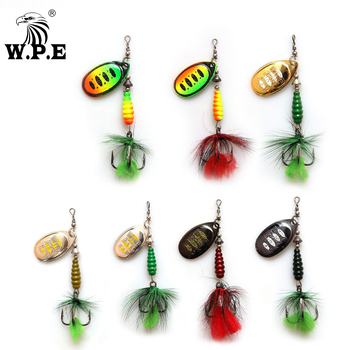 W.P.E KOMODO 1pcs Spinner Lure 8.5g Brass Metal Spoon Fishing Lure Feather Treble Hook Bass Lure Hard Bait Fishing Tackle Pike fishing bait fish lure hook twist spoon crankbaits spinner accessory tool tackle 20 12