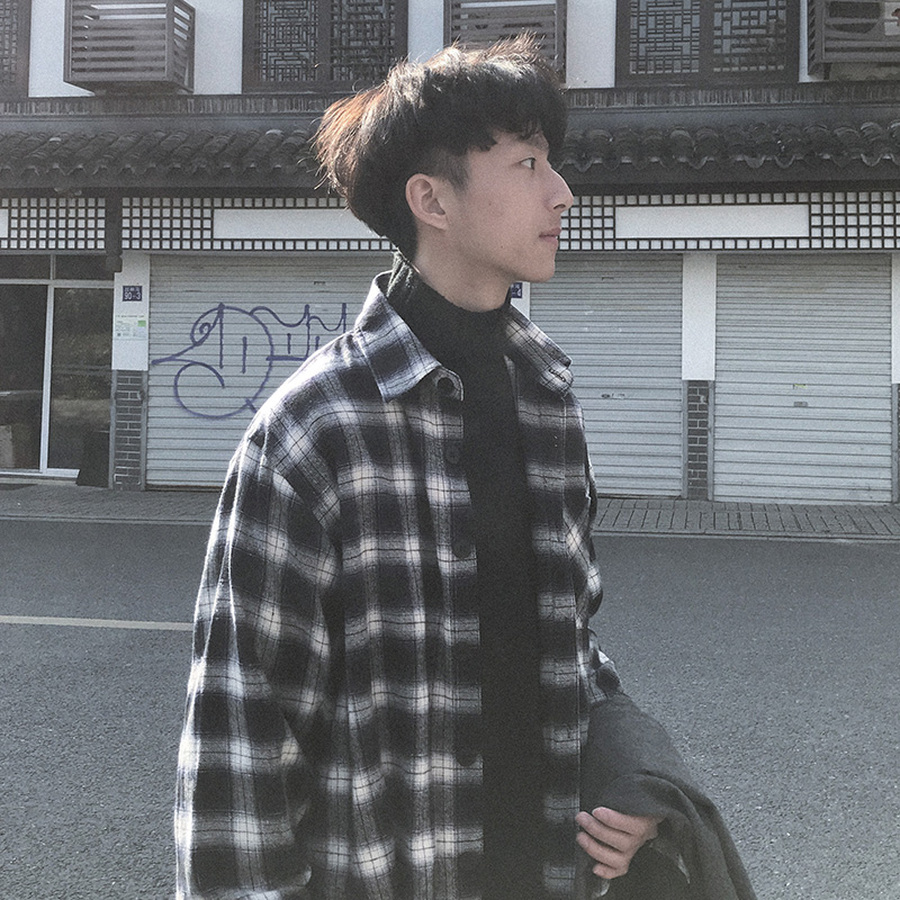 Men's Fashion Plaid Cotton Shirt Loose Long Sleeve Horizontal Striped Shirts For Men Korean Male Clothes Shirt Black Men HH50CS