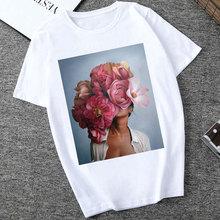 Camisetas Verano Mujer 2019 Harajuku Aesthetics Tshirt Lady Flowers Feather Short Sleeve White