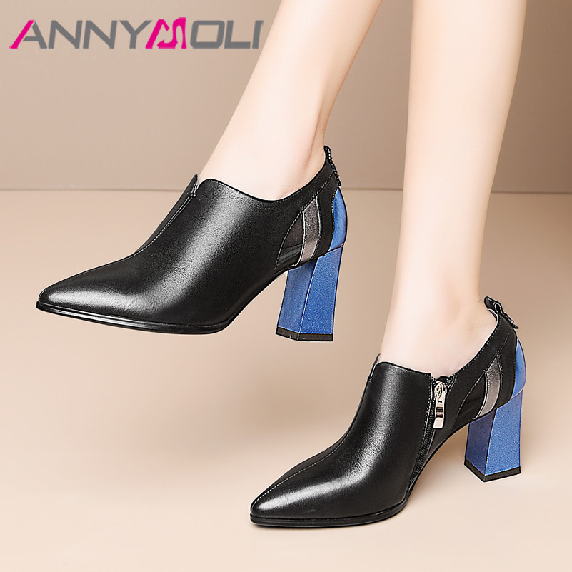 ANNYMOLI High Heels Women Pumps Natural Genuine Leather Thick High Heels Shoes Real Leather Zip Pointed Toe Shoes Ladies Size 42