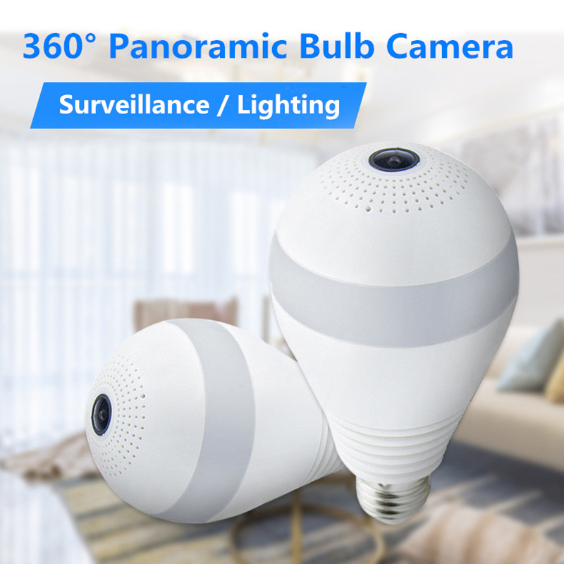 LED Light Camera 1080P 2MP Wireless Panoramic Home Security WiFi CCTV Fisheye Bulb Lamp IP Camera 360 Degree Two Way Audio AI AL
