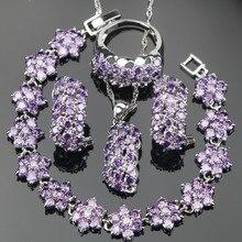 Braut Lila Zirkonia Silber 925 Hochzeit Schmuck Sets Armbänder Steine Ohrringe Für Frauen Anhänger Halskette Ringe Set Geschenk Box