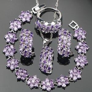 Image 1 - Conjunto de joyería nupcial de plata de circonia púrpura 925, pulseras, pendientes de las mujeres de piedras para COLLAR COLGANTE, anillos, caja de regalo