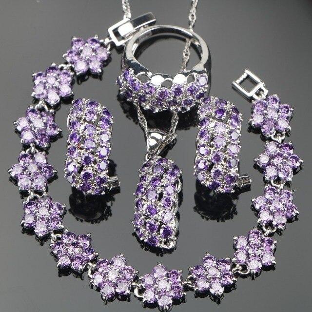 Conjunto de joyería nupcial de plata de circonia púrpura 925, pulseras, pendientes de las mujeres de piedras para COLLAR COLGANTE, anillos, caja de regalo