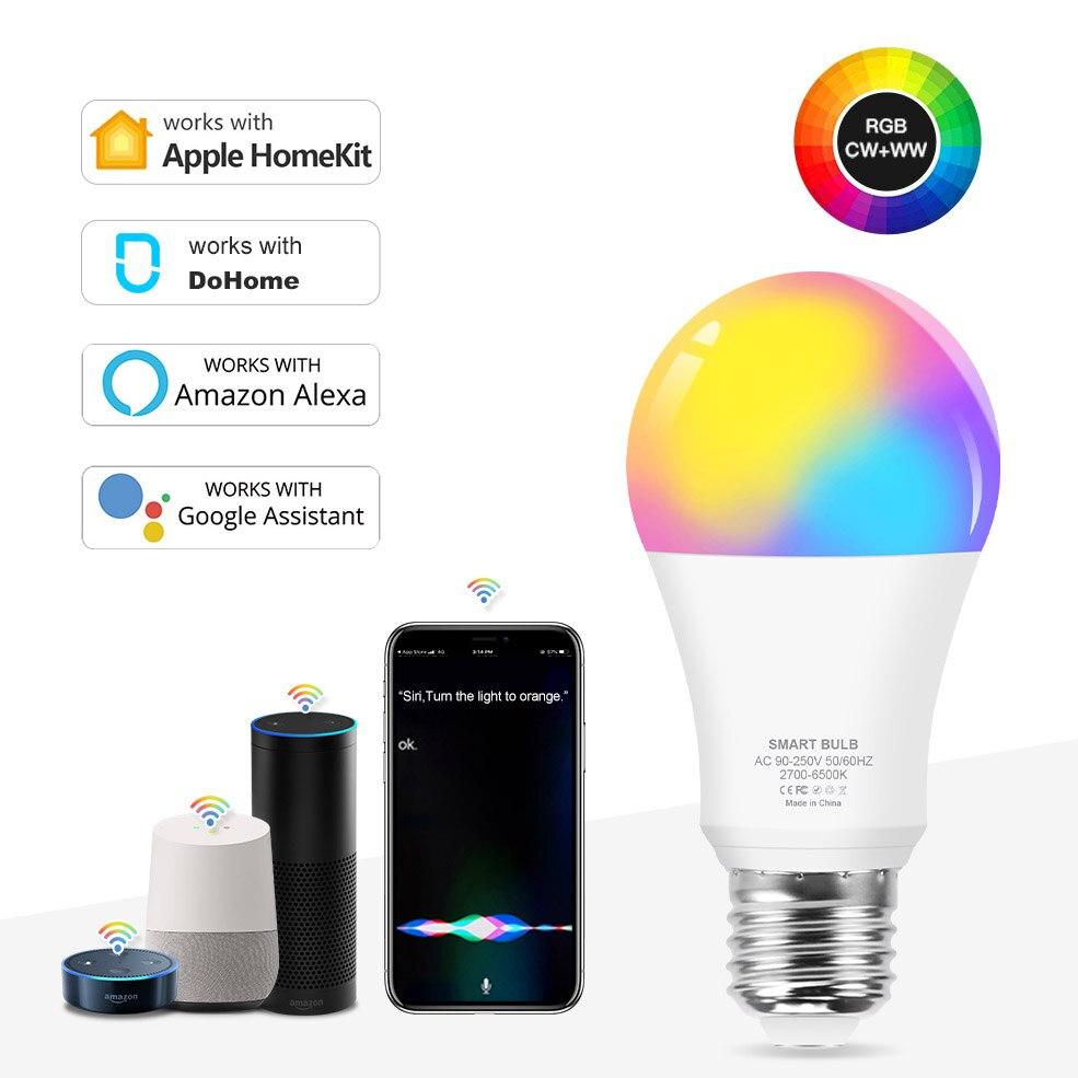 12W RGB Smart Light Bulb Dimmable Siri Voice Control E27 WiFi LED Magic Lamp AC 110V 220V Work with Alexa Google Assistant