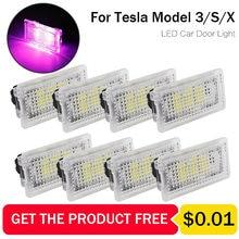 Diodo emissor de luz do carro ultra-brilhante para tesla modelo x modelo s modelo 3 luces sem fio fácil plug auto interior footwell tronco lâmpada ambiente