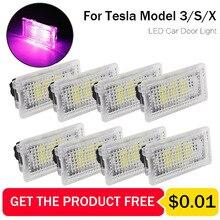 LED araba ışık Ultra parlak Tesla MODEL X için MODEL S MODEL 3 Luces kablosuz kolay fiş oto iç ayak gövde ortam lambası