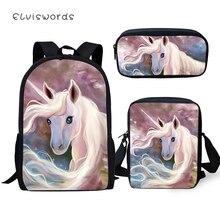 ELVISWORDS Fashion 3PCs Set Backpack Cute Horse Pattern Kids School Bags Students Fantasy Unicorn Backpack/Flaps Bag/Pen