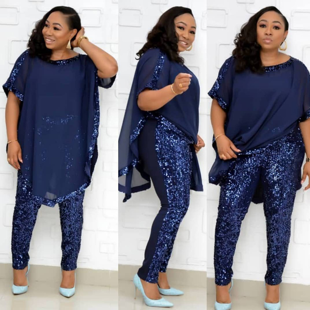 Elegant Office OL Dashiki Women Suit African Traditional Clothing Sexy Chiffon Sequined Pant And Top Set Plus Size 2 Piece Set