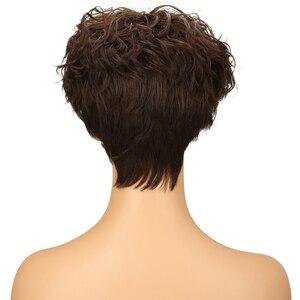Image 4 - Trueme Brasiliano Pixie Cut Parrucca Rosso Blu Ombre Ondulati Dellonda di Remy Capelli Corti Parrucche Dei Capelli Umani Per Le Donne Nere di Moda parrucca piena