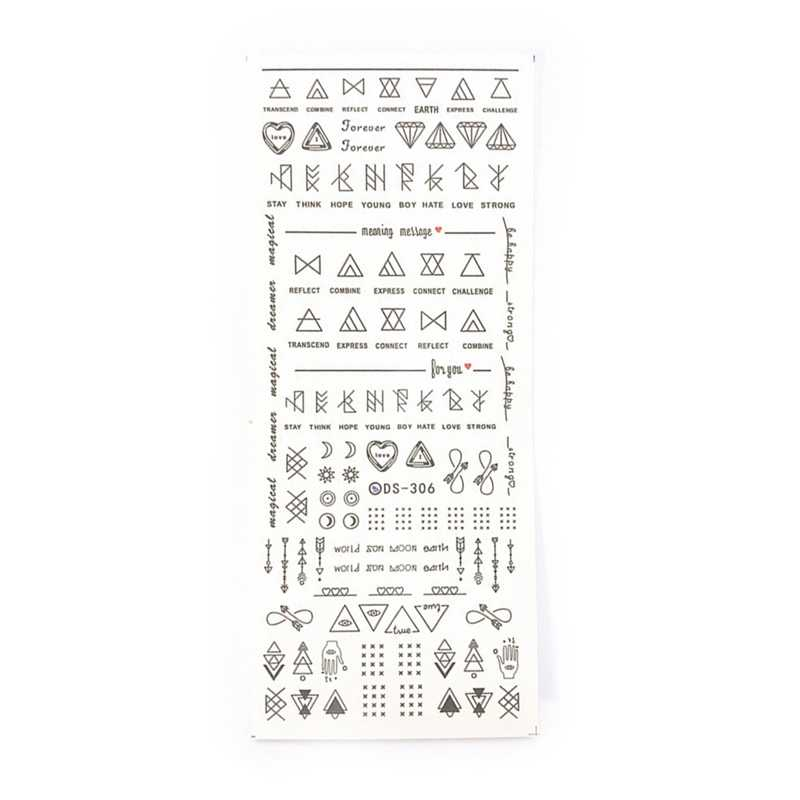 2 Pcs Cinta Huruf Slider untuk Kuku Seni Dekorasi Stiker Air Transfer Stiker Bunga Daun Gadis Manikur DIY Tips