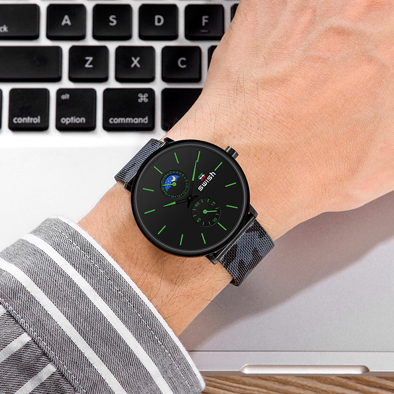 Image 5 - SWISH Fashion Watches for Men Luxury Stainless Steel Mens Wristwatches Waterproof Sports Military Quartz Chronograph Reloj 2020Quartz Watches   -