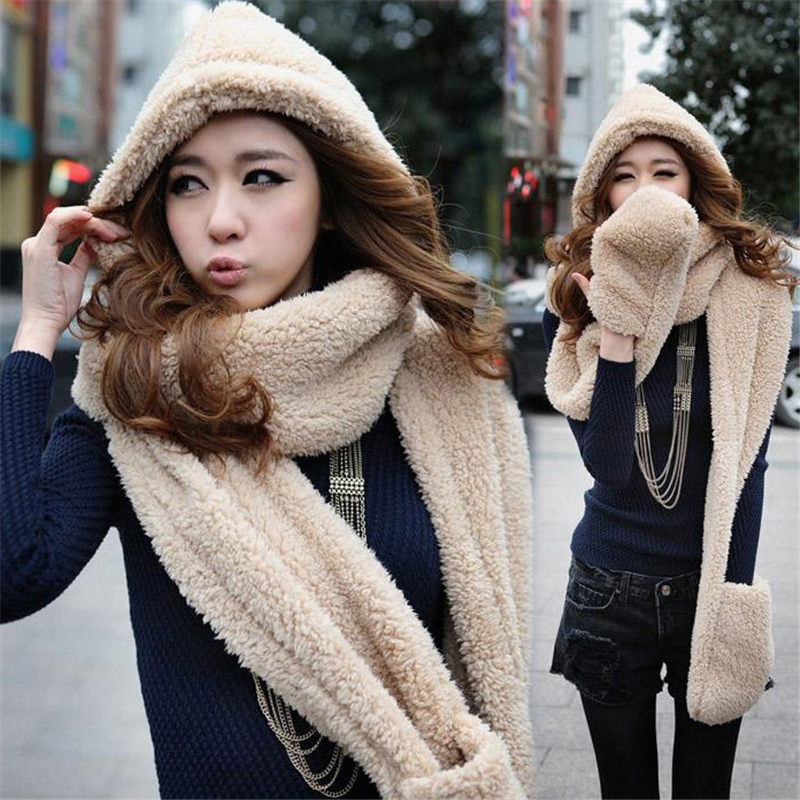 2019 Brand New Gloves With Pocket Fluffy Hood Scarf Earflap Hat Winter Warm Women Ladies Multi-function Set Gifts