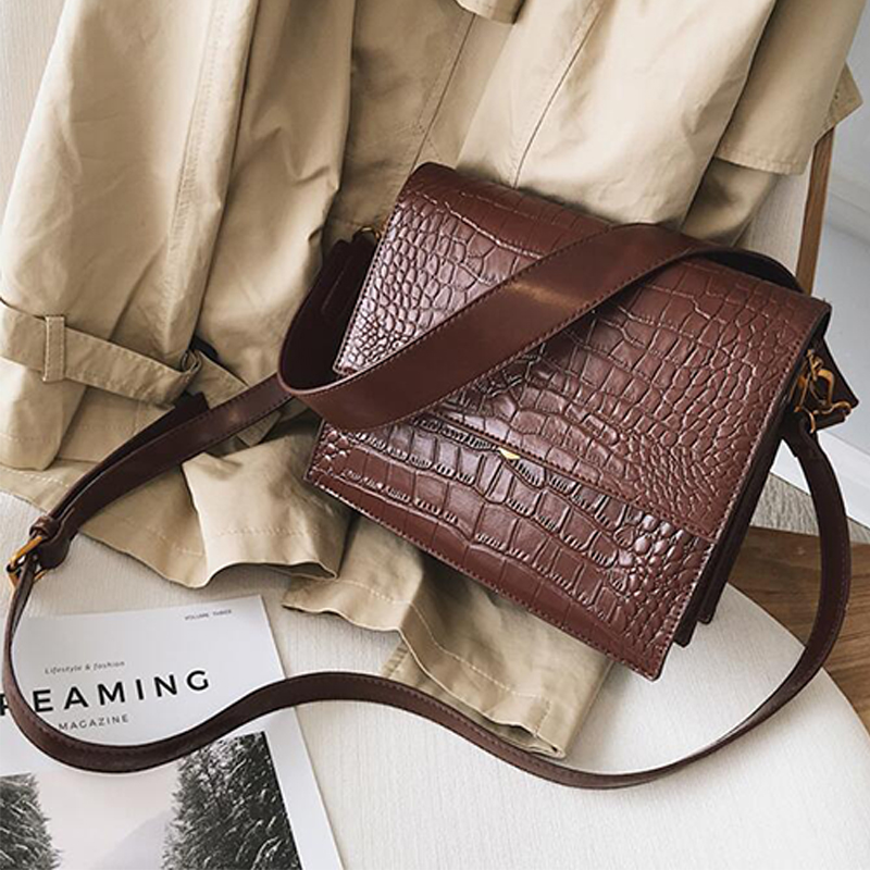 European Fashion Simple Women's Designer Handbag 2020 New Quality PU Leather Women Tote Bag Alligator Shoulder Crossbody Bags