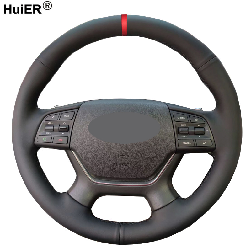 Hand Sewing Car Steering Wheel Cover Wrap Volant For Hyundai Genesis 2015 2016 Braid on the Steering wheel Car Accessories