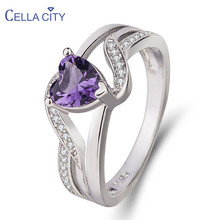 Cellacity Heart shaped Gemstones Ring for Women Silver 925 Jewelry Sapphire Amethyst Ruby Aquamarine Crystal Engagement Rings