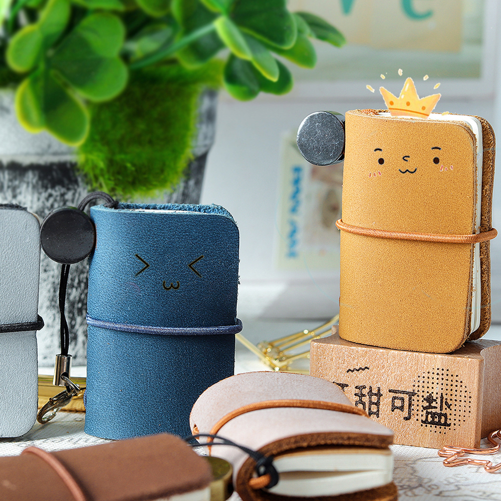 Handmade Genuine Leather Notebook Mini Travel Journal Vintage Decoration Retro Pendant Little Diary Cute Stationery