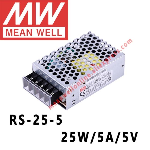 Mean Well RS 25 5 AC/DC 25 W/5A/5 V Uscita Singola Alimentazione Elettrica di Commutazione meanwell on line negozio