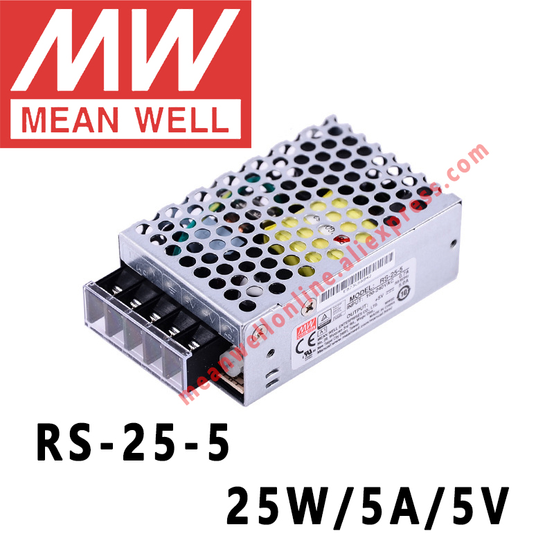 Mean Well RS 25 5 AC/DC 25W/5A/5V Single Output Switching Power Supply meanwell online storeSwitching Power Supply   -