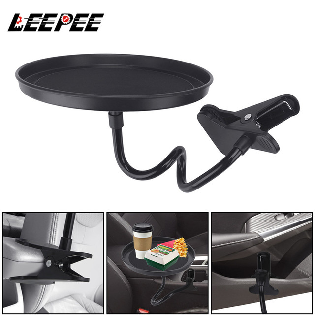 Adjustable Car Food Tray Clamp Bracket Multifunctional Drink Coffee Bottle Organizer Dining Table Car Cup Holder Swivel Tray