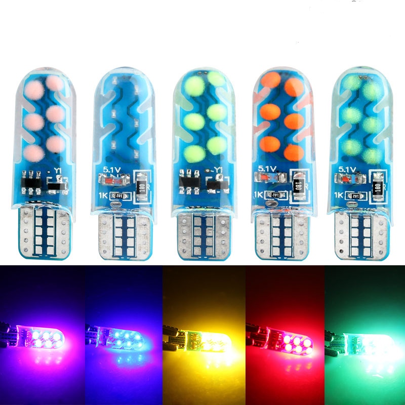 <font><b>100X</b></font> <font><b>T10</b></font> car motorcycle modified LED silicone COB width indicator light reading light instrument light door side car light image