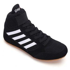 Zapatos profesionales de lucha de boxeo para hombres y mujeres, botas de combate de entrenamiento con cordones, suela de goma, transpirables
