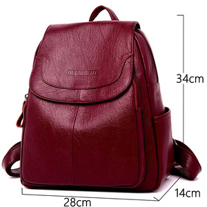 Image 2 - LANYIBAIGE Women Leather Backpacks Female Shoulder Bag Ladies Bagpack Vintage School Bags For Girls Travel Back Pack Sac A Dos