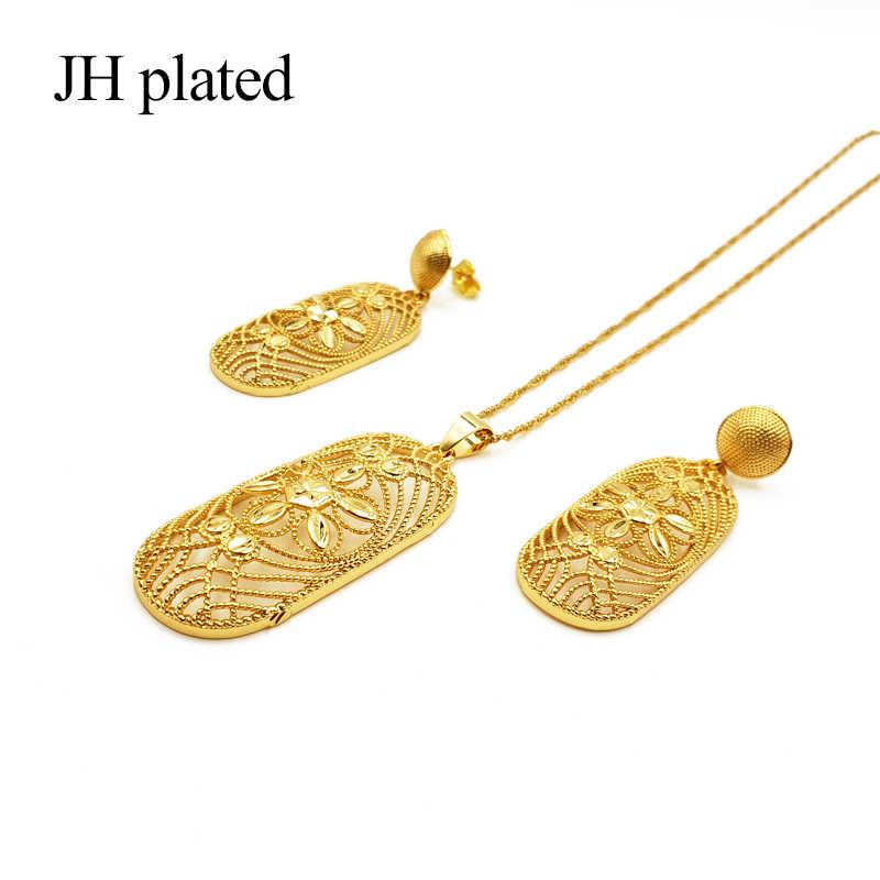 Jhmade جديد مجوهرات الإثيوبية الذهب قلادة ملونة قلادة أقراط ل الأفريقي/إثيوبيا/إريتريا النساء مجوهرات الزفاف مجموعات