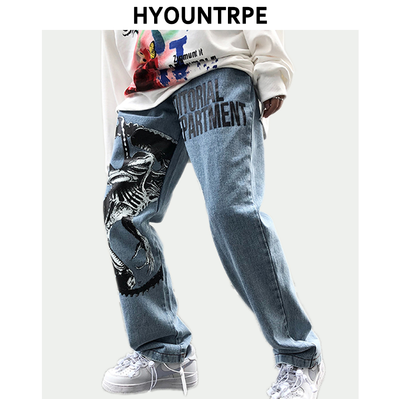 Mens Fashion Printed Denim Jeans Autumn High Street Casual Loose Straight Zipper Jean Jogger Hip Hop Streetwear Pants New Jeans