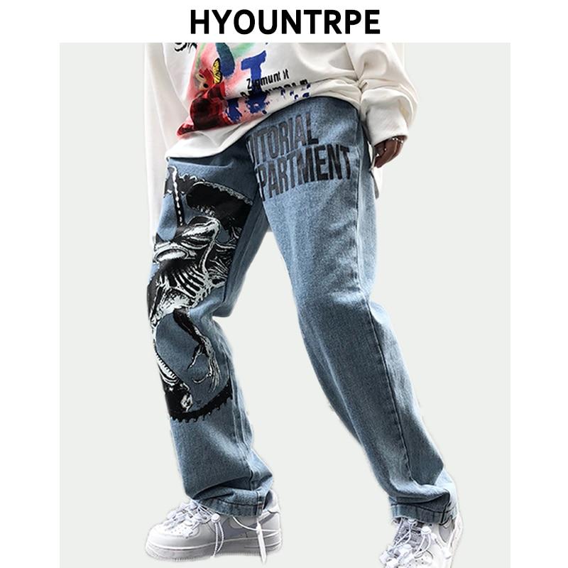Mens Fashion Printed Denim Jeans Autumn High Street Casual Loose Straight Zipper Jean Jogger Hip Hop Streetwear Pants New Jeans
