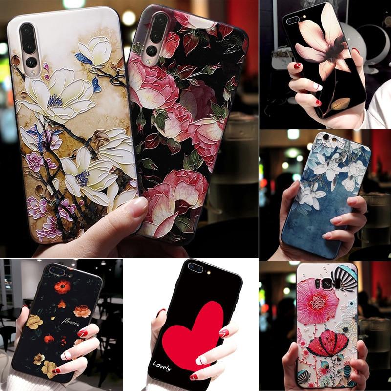 Para Samsung A30 A50 funda 3D relieve flor funda de teléfono para Samsung Galaxy A70 A 10 2019 funda blanda para Samsung A10 A40 A70 A 30 50