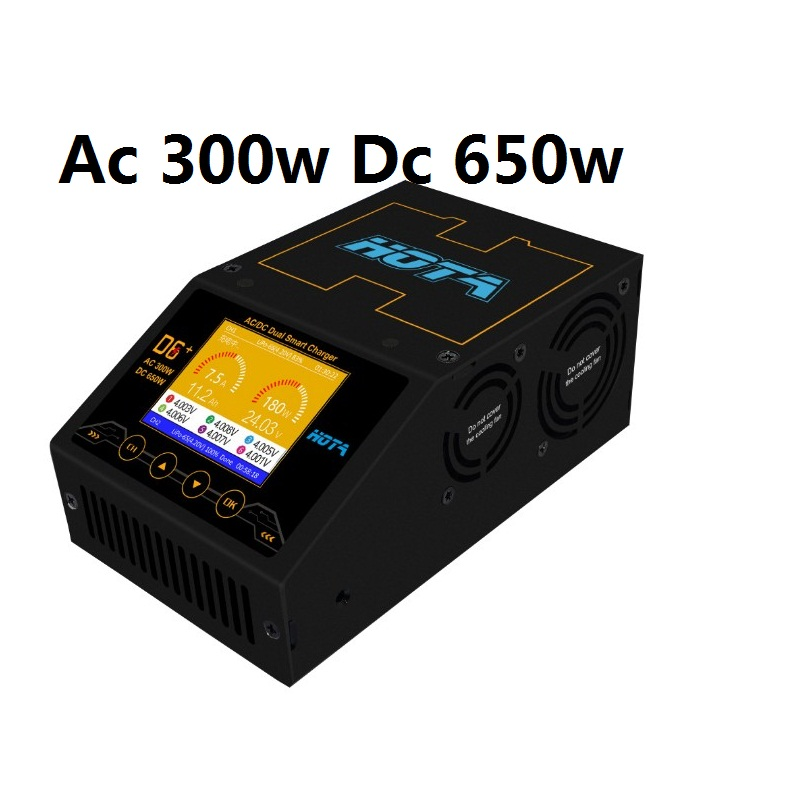 HOTA D6  DC AC Ac 300w Dc 2x325w 2x15a Dual Channel Smart Battery Charger Discharger Lipo Charger For Rc Drone Spare Parts