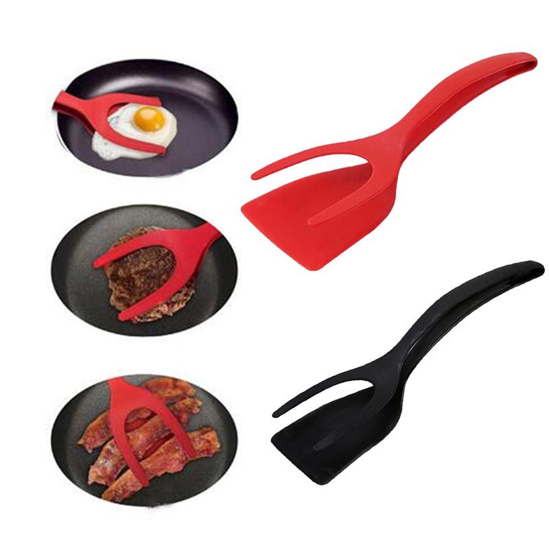 Multifuncional 2 em 1 pão antiaderente ovo turners cozinhar pinças gadgets para utensílios de cozinha silicone espátula ferramenta de cozinha