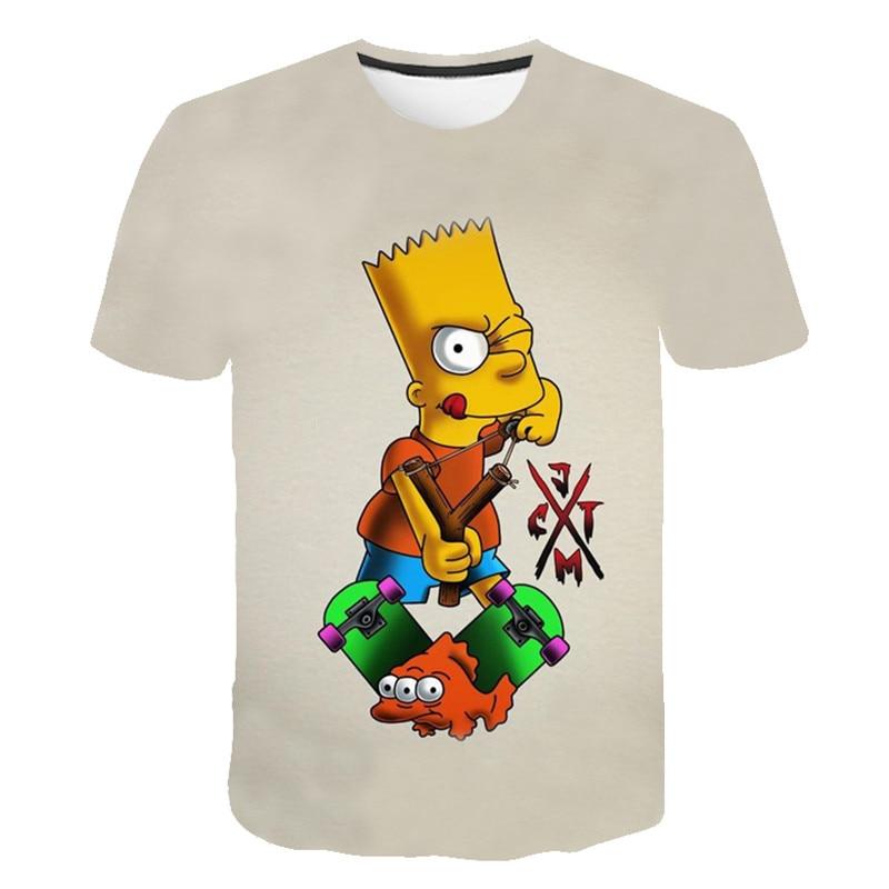 2019 New Casual Funny T Shirt The Simpsons 3D Printed Hip Hop Short Sleeve Men Women Harajuku Hoodies Cartoon Sweatshirts Tops