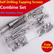 Self Drilling Tapping Screws 410 Stainless Steel Round / Flat / Truss / Hexagon Flange Head Self-drilling Screw Combination Set