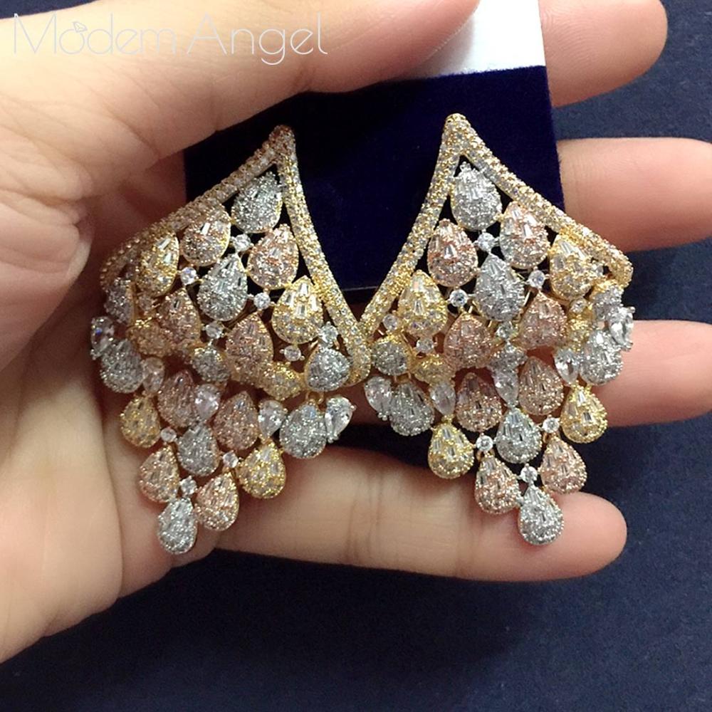 ModemAngel luxe soleil fleur forme longue cerceau boucles d'oreilles cubique zircone femmes mariage grandes boucles d'oreilles Bijoux 2020