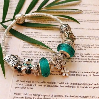 high quality 1:1 100% 925 pure silver turquoise panda accounts freight bracelet free
