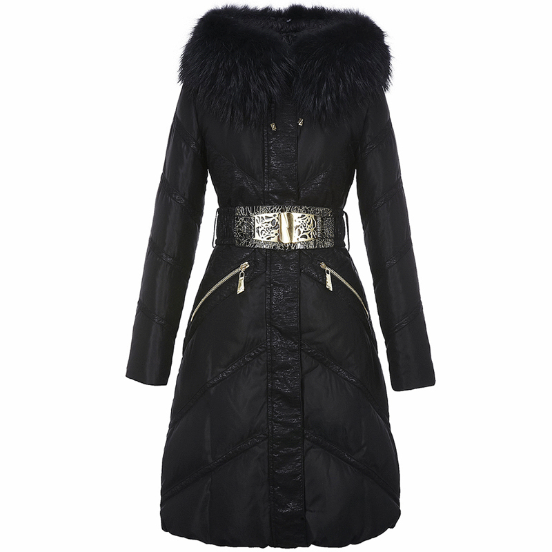 Jacket Down Women's Winter Jacket Women Real Raccoon Fur Collar Down Coat Female Parka Long Jackets Chaqueta Mujer MY S