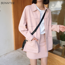 Jackets Women Solid Single Breasted All Match Loose Full Length Korean Style Wom