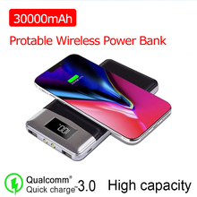 Qi Wireless Power Bank 30000mAh Charger External Battery Wir