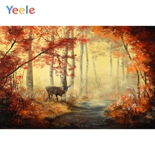 Yeele Autumn Forest Tree Leaves Deer Natural Scenery Photographic Background Custom Vinyl Photography Backdrops For Photo Studio