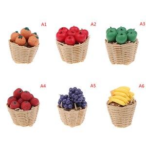 1/12 кукольный домик Миниатюрные аксессуары мини-корзина для фруктов имитация апельсинового яблока Виноградная модель игрушки для кукольно...